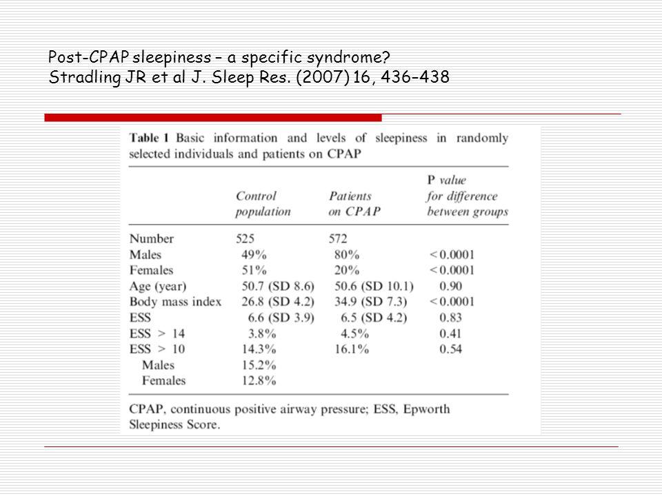 Post-CPAP sleepiness – a specific syndrome. Stradling JR et al J