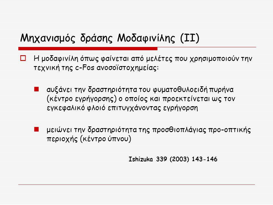 Μηχανισμός δράσης Moδαφινίλης (ΙΙ)