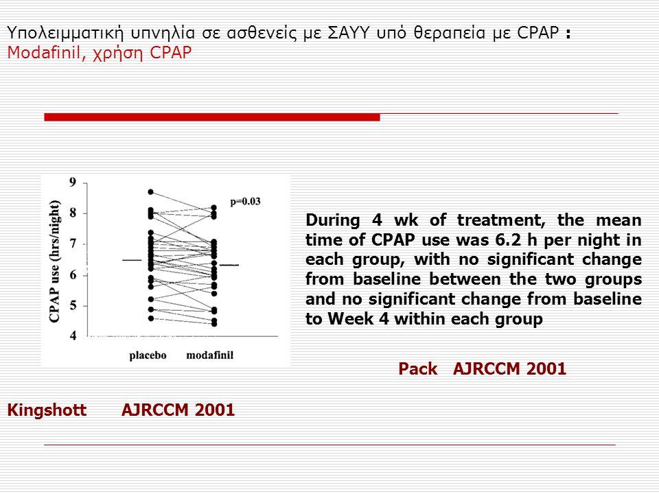 Υπολειμματική υπνηλία σε ασθενείς με ΣΑΥΥ υπό θεραπεία με CPAP : Modafinil, χρήση CPAP