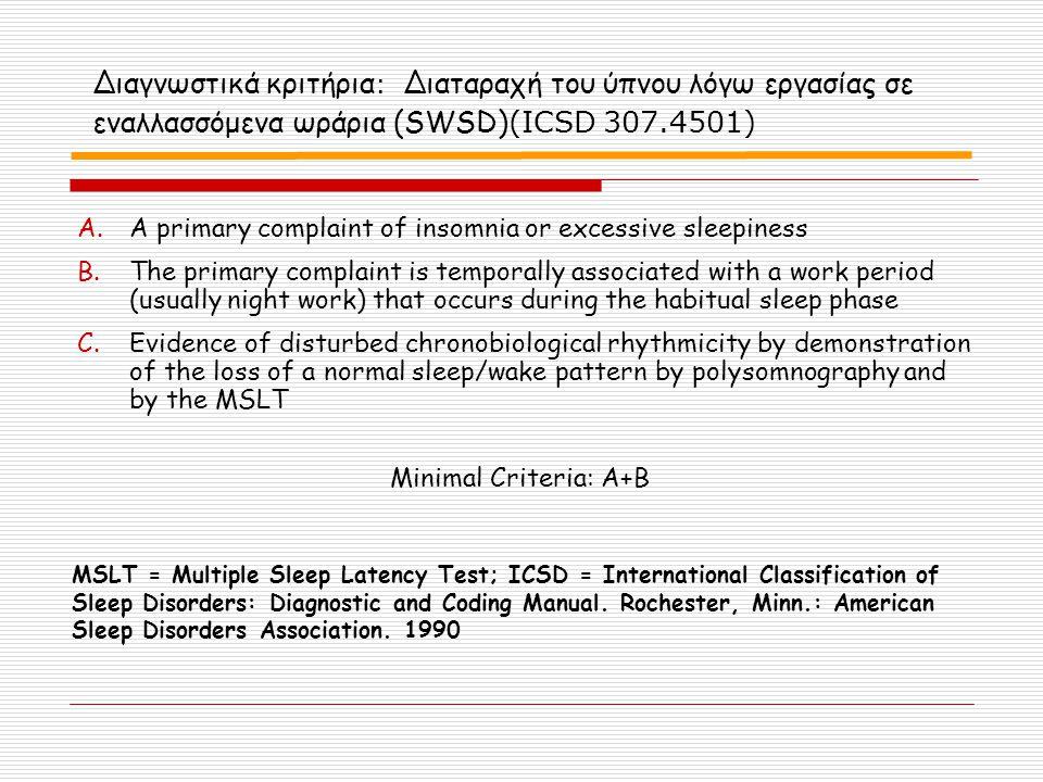 Διαγνωστικά κριτήρια: Διαταραχή του ύπνου λόγω εργασίας σε εναλλασσόμενα ωράρια (SWSD)(ICSD 307.4501)