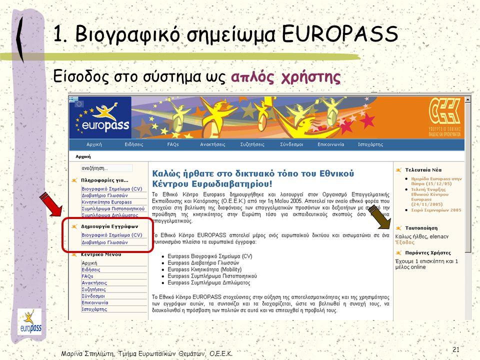 1. Βιογραφικό σημείωμα EUROPASS