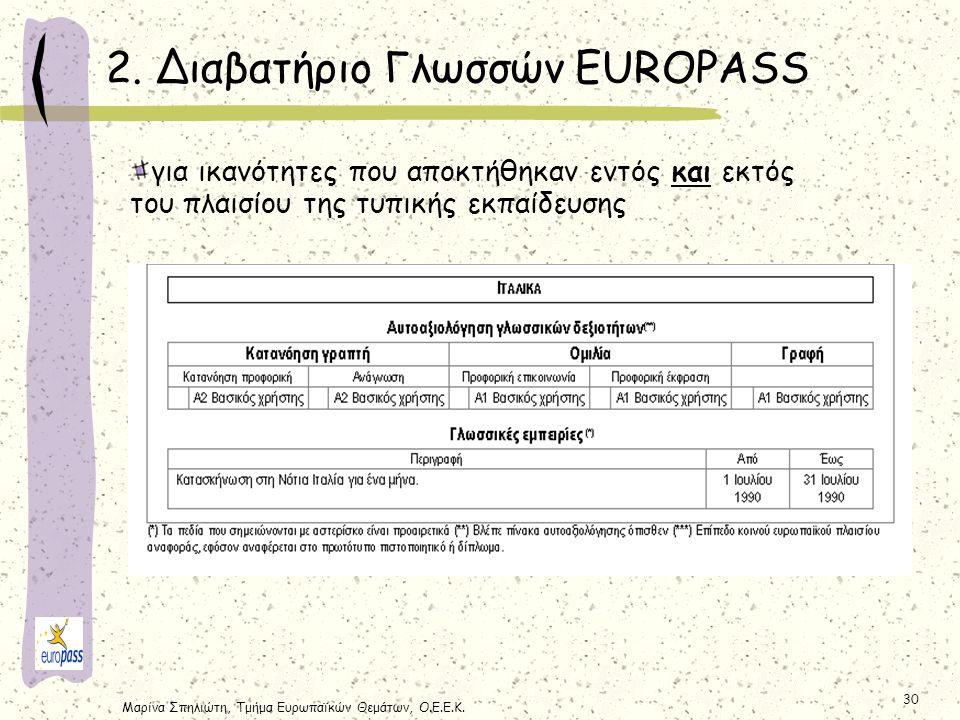 2. Διαβατήριο Γλωσσών EUROPASS