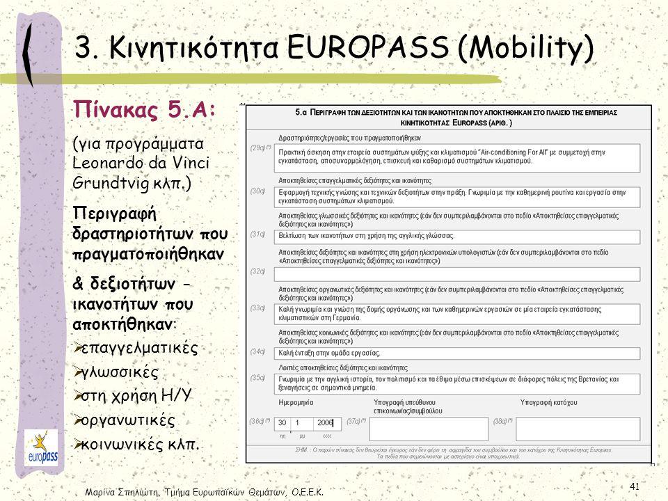 3. Κινητικότητα EUROPASS (Mobility)