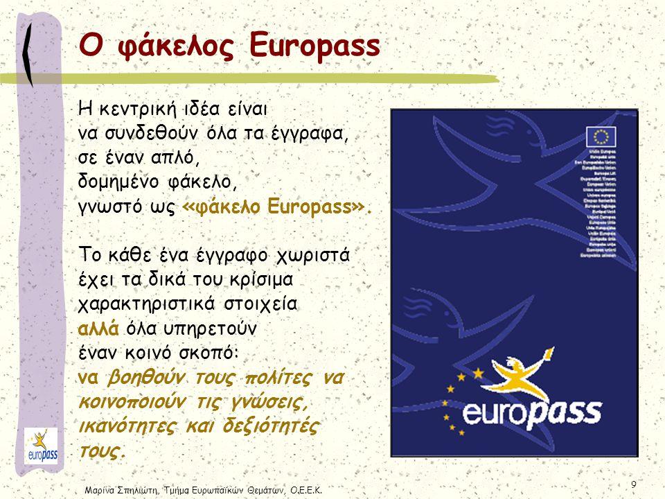 Ο φάκελος Europass Η κεντρική ιδέα είναι να συνδεθούν όλα τα έγγραφα,