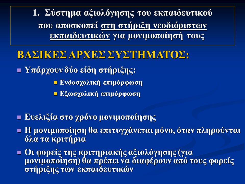 1. Σύστημα αξιολόγησης του εκπαιδευτικού