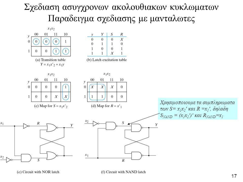 Σχεδιαση ασυγχρονων ακολουθιακων κυκλωματων Παραδειγμα σχεδιασης με μανταλωτες