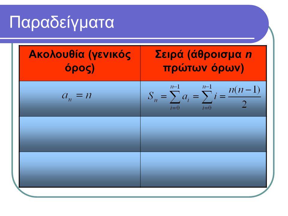 Ακολουθία (γενικός όρος) Σειρά (άθροισμα n πρώτων όρων)