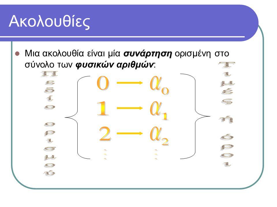 Ακολουθίες a 1 a Τιμές ή όροι 1 Πεδίο ορισμού 2 a 2 . .