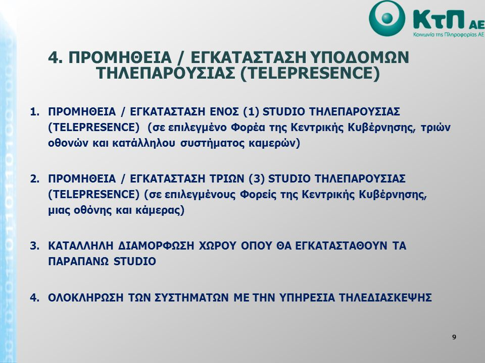 4. ΠΡΟΜΗΘΕΙΑ / ΕΓΚΑΤΑΣΤΑΣΗ ΥΠΟΔΟΜΩΝ ΤΗΛΕΠΑΡΟΥΣΙΑΣ (TELEPRESENCE)