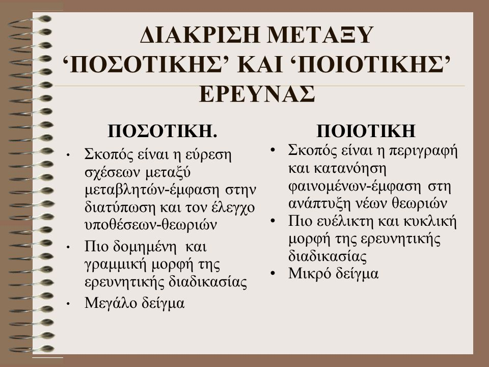 ΔΙΑΚΡΙΣΗ ΜΕΤΑΞΥ 'ΠΟΣΟΤΙΚΗΣ' ΚΑΙ 'ΠΟΙΟΤΙΚΗΣ' ΕΡΕΥΝΑΣ