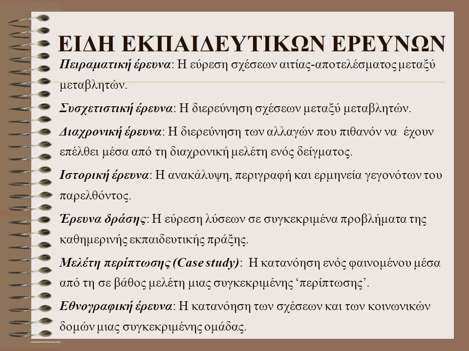 ΕΙΔΗ ΕΚΠΑΙΔΕΥΤΙΚΩΝ ΕΡΕΥΝΩΝ