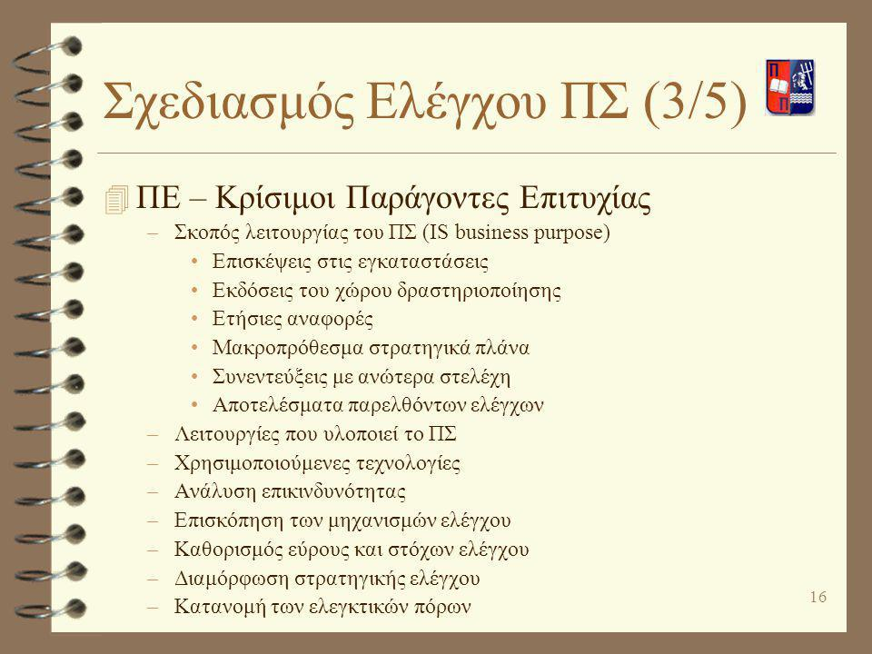 Σχεδιασμός Ελέγχου ΠΣ (3/5)