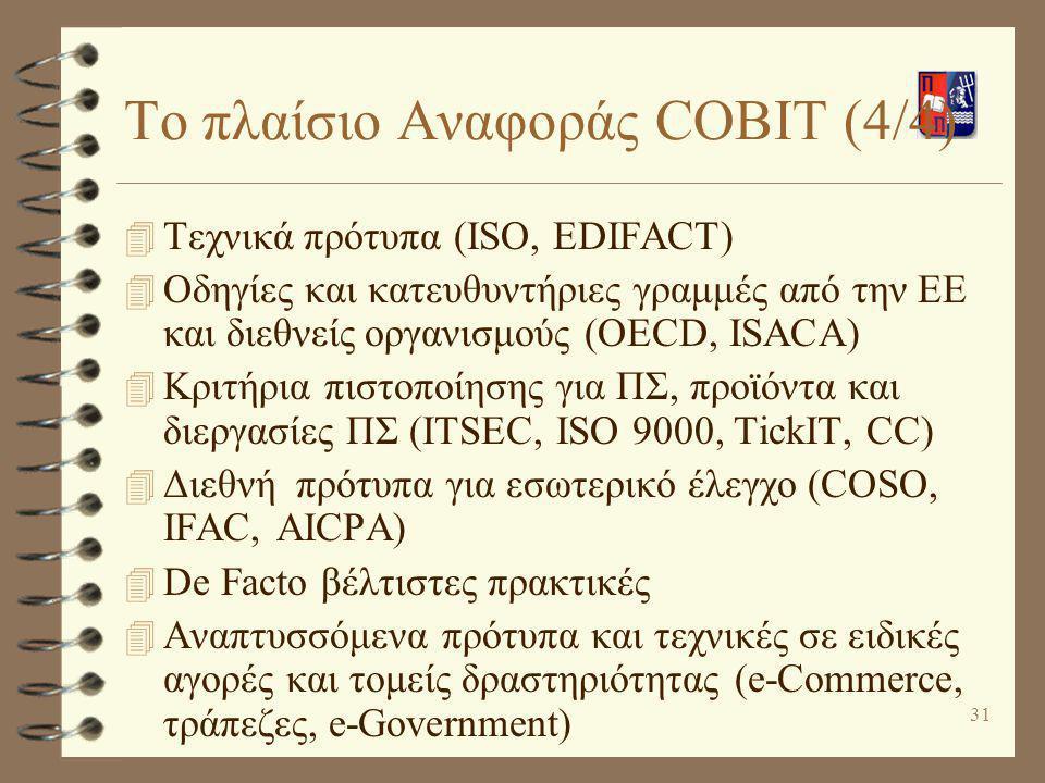 Το πλαίσιο Αναφοράς COBIT (4/4)