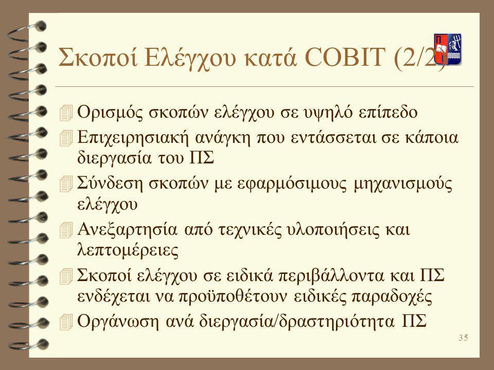 Σκοποί Ελέγχου κατά COBIT (2/2)