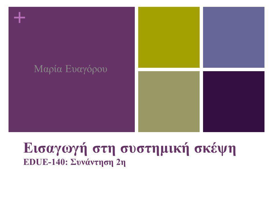 Εισαγωγή στη συστημική σκέψη EDUE-140: Συνάντηση 2η