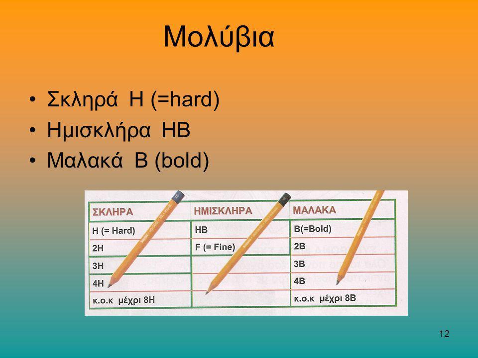 Μολύβια Σκληρά Η (=hard) Ημισκλήρα ΗΒ Μαλακά Β (bold)