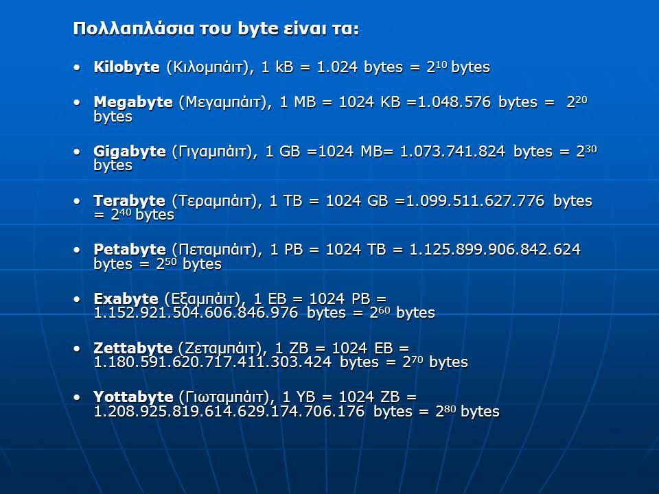 Πολλαπλάσια του byte είναι τα:
