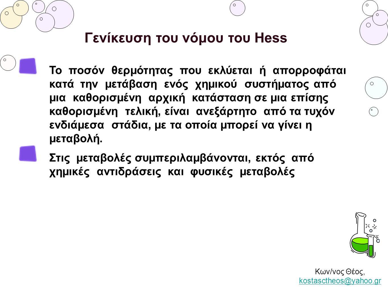 Γενίκευση του νόμου του Hess