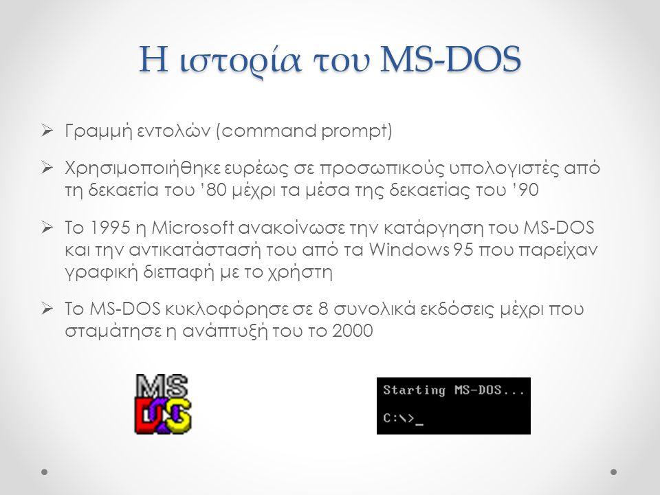 Η ιστορία του MS-DOS Γραμμή εντολών (command prompt)