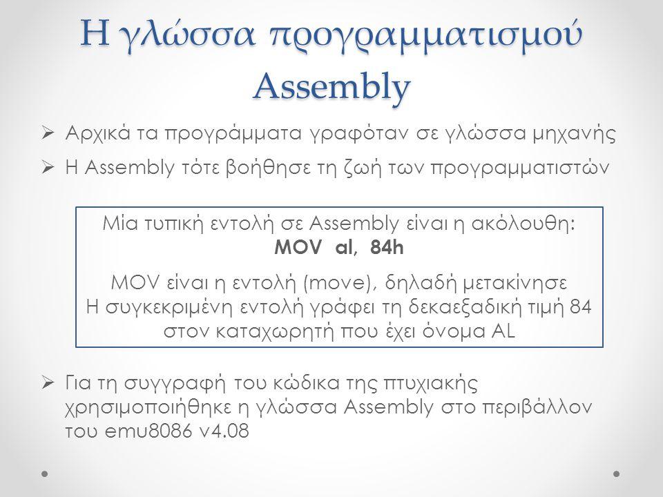 Η γλώσσα προγραμματισμού Assembly