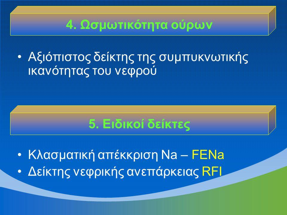 4. Ωσμωτικότητα ούρων Αξιόπιστος δείκτης της συμπυκνωτικής ικανότητας του νεφρού. Κλασματική απέκκριση Νa – FENa.