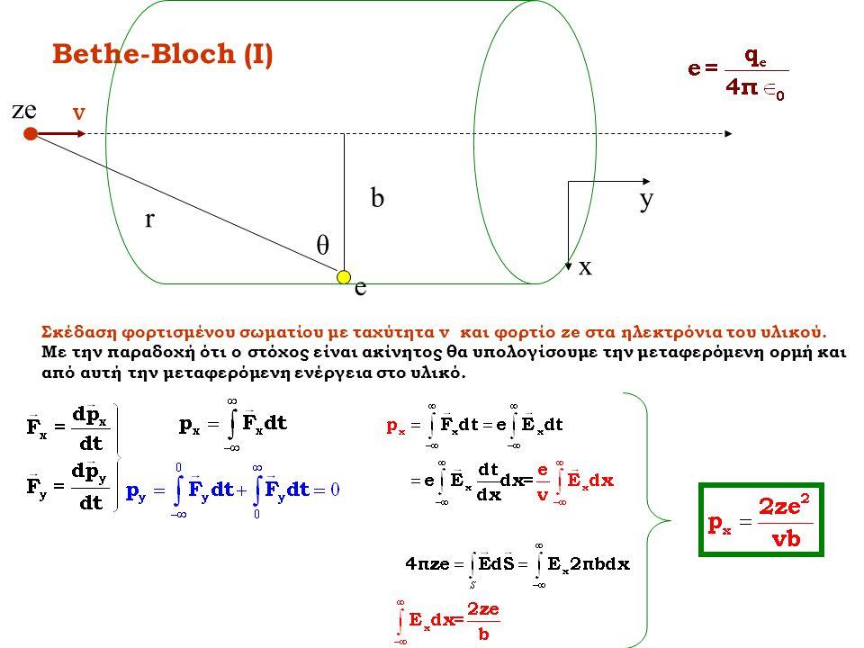 Bethe-Bloch (I) ze b y r θ x e V