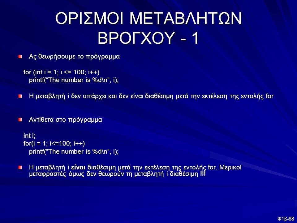 ΟΡΙΣΜΟΙ ΜΕΤΑΒΛΗΤΩΝ ΒΡΟΓΧΟΥ - 1