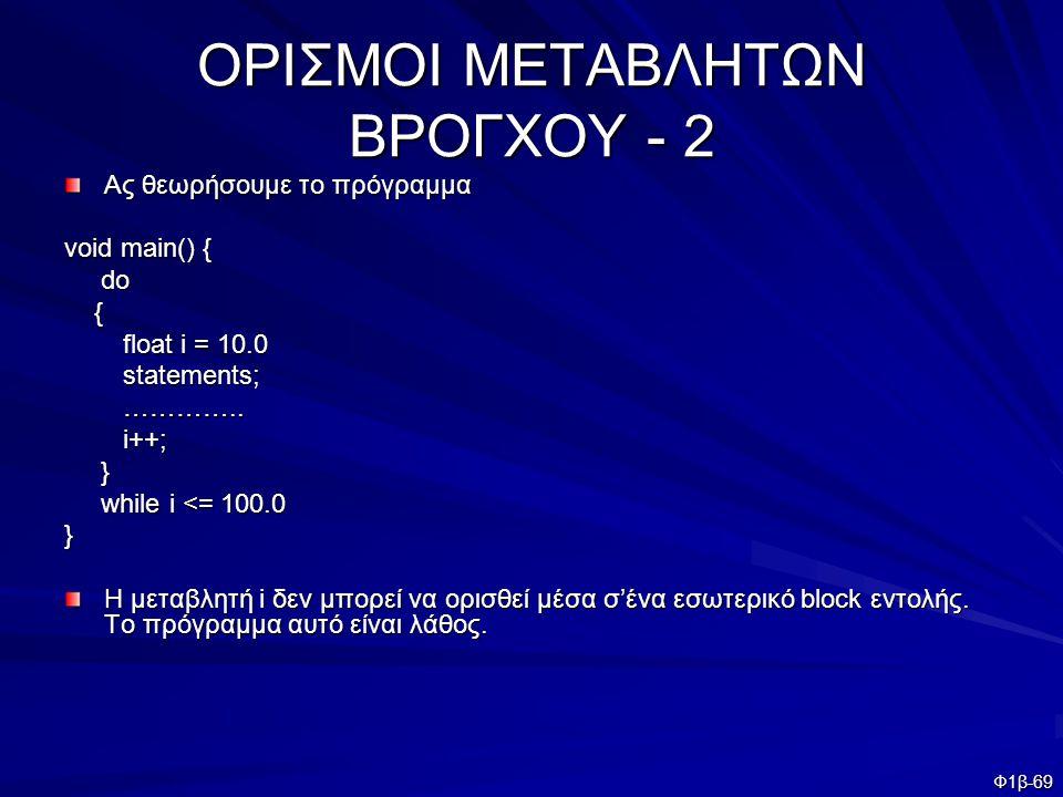 ΟΡΙΣΜΟΙ ΜΕΤΑΒΛΗΤΩΝ ΒΡΟΓΧΟΥ - 2