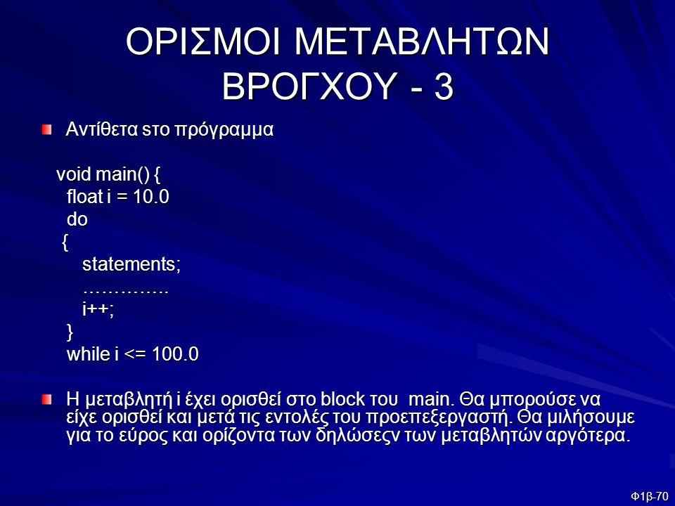 ΟΡΙΣΜΟΙ ΜΕΤΑΒΛΗΤΩΝ ΒΡΟΓΧΟΥ - 3