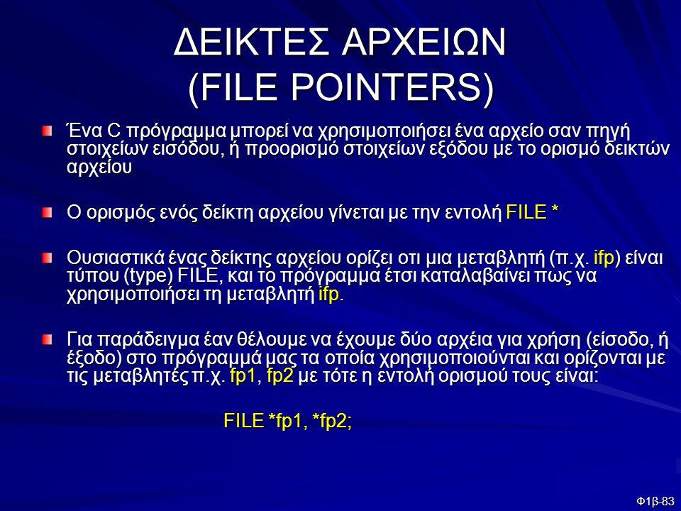 ΔΕΙΚΤΕΣ ΑΡΧΕΙΩΝ (FILE POINTERS)