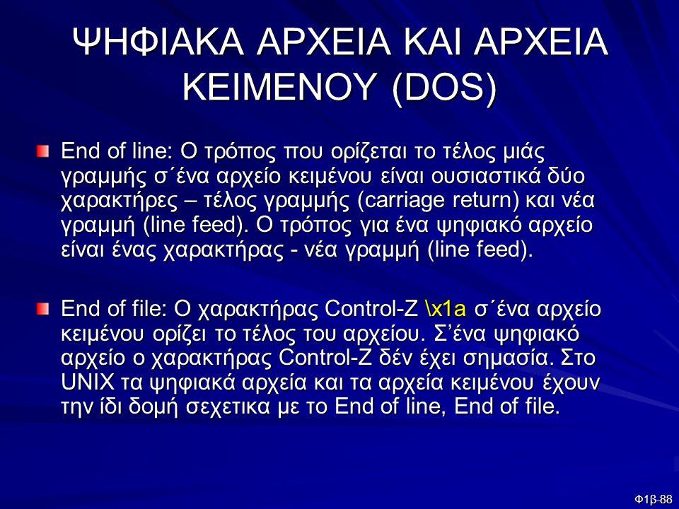 ΨΗΦΙΑΚΑ ΑΡΧΕΙΑ ΚΑΙ ΑΡΧΕΙΑ KEIMENOY (DOS)