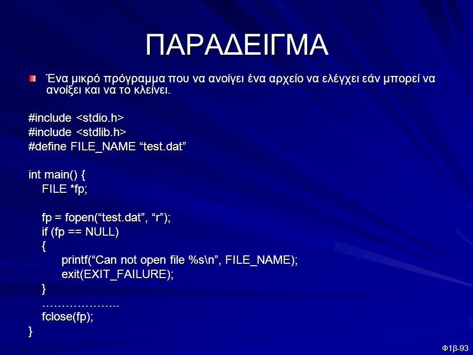 ΠΑΡΑΔΕΙΓΜΑ Ένα μικρό πρόγραμμα που να ανοίγει ένα αρχείο να ελέγχει εάν μπορεί να ανοίξει και να το κλείνει.