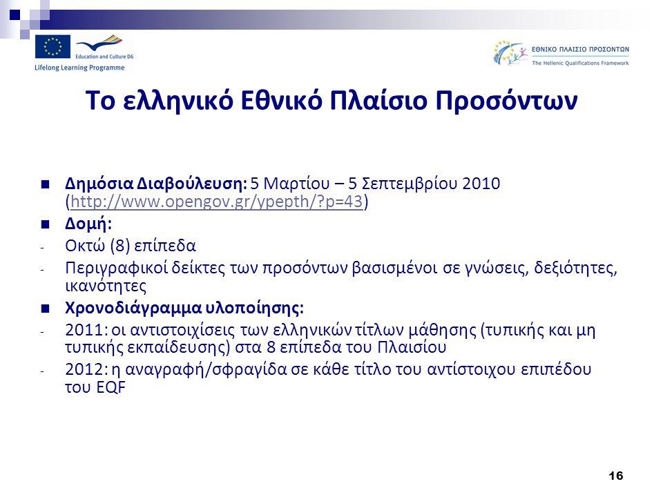 Το ελληνικό Εθνικό Πλαίσιο Προσόντων