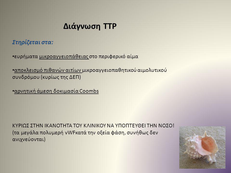 Διάγνωση TTP Στηρίζεται στα: