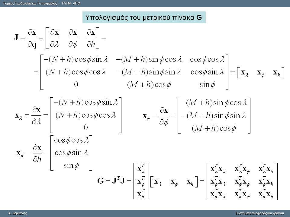 Υπολογισμός του μετρικού πίνακα G