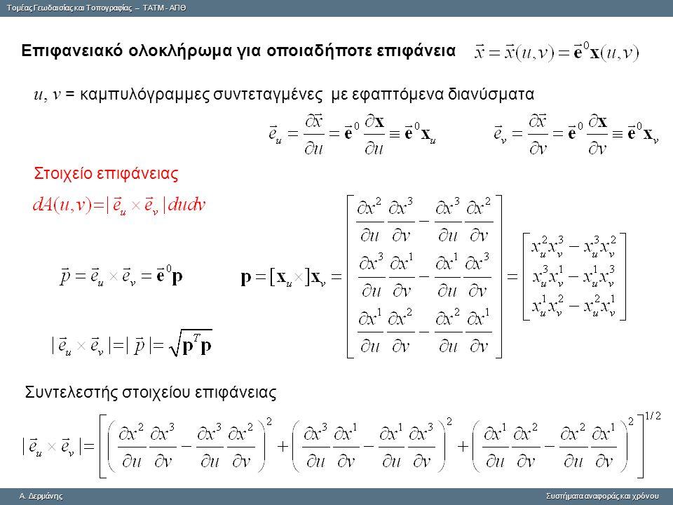 u, v = καμπυλόγραμμες συντεταγμένες με εφαπτόμενα διανύσματα