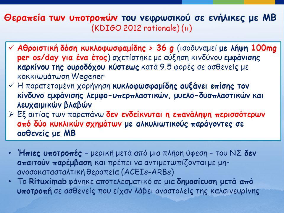 Θεραπεία των υποτροπών του νεφρωσικού σε ενήλικες με ΜΒ