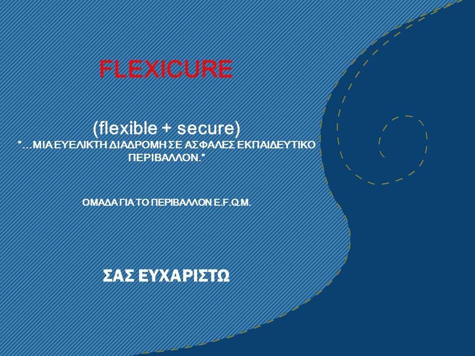 FLEXICURE (flexible + secure) …MIA ΕΥΕΛΙΚΤΗ ΔΙΑΔΡΟΜΗ ΣΕ ΑΣΦΑΛΕΣ ΕΚΠΑΙΔΕΥΤΙΚΟ ΠΕΡΙΒΑΛΛΟΝ. ΟΜΑΔΑ ΓΙΑ ΤΟ ΠΕΡΙΒΑΛΛΟΝ E.F.Q.M.