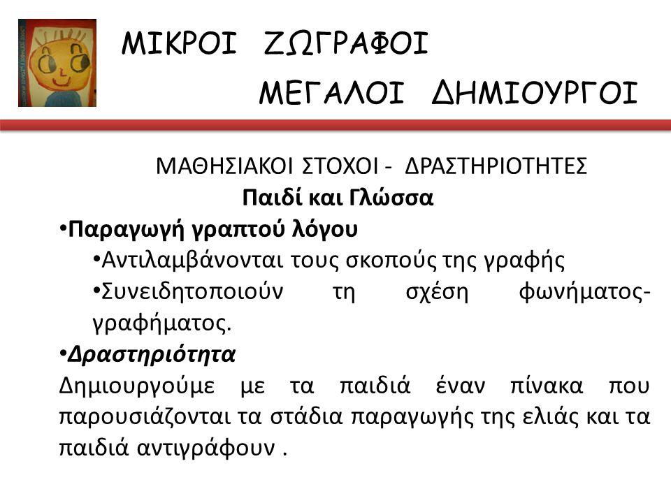ΜΑΘΗΣΙΑΚΟΙ ΣΤΟΧΟΙ - ΔΡΑΣΤΗΡΙΟΤΗΤΕΣ