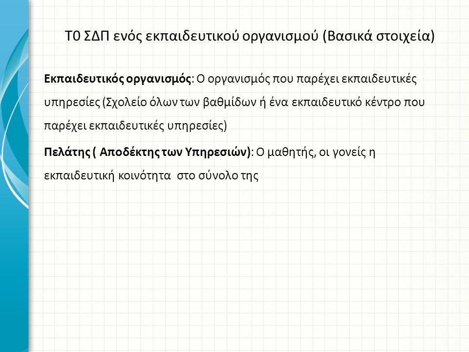 Τ0 ΣΔΠ ενός εκπαιδευτικού οργανισμού (Βασικά στοιχεία)