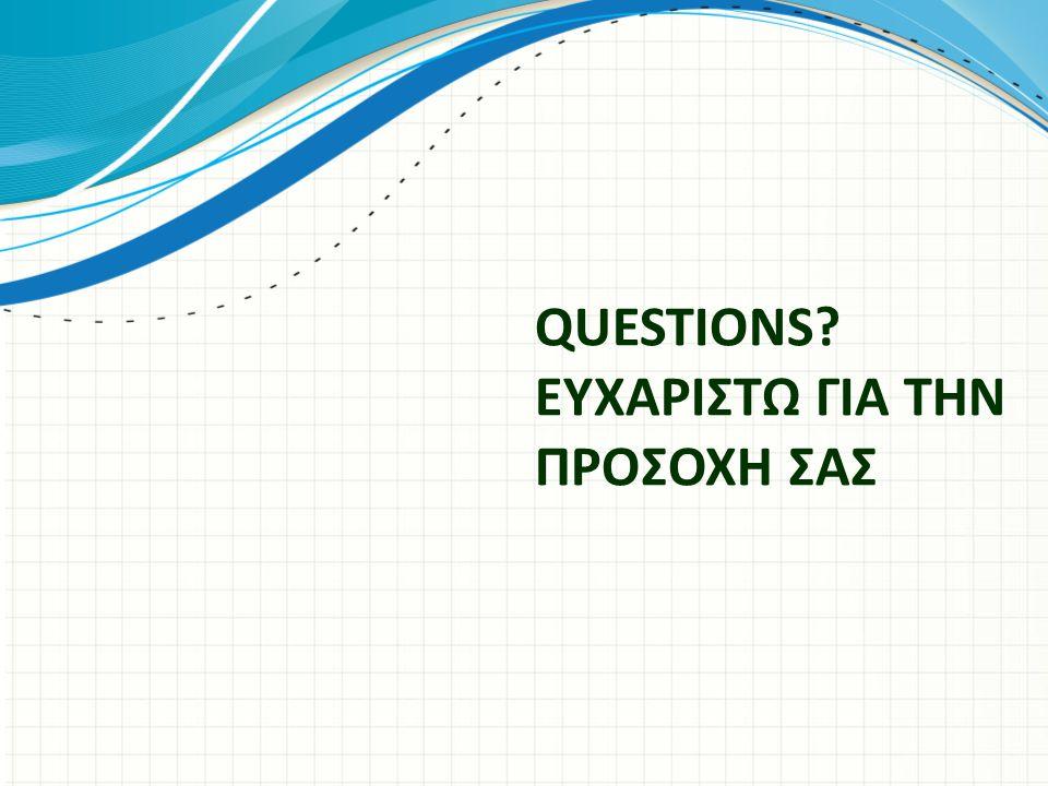 QUESTIONS ΕΥΧΑΡΙΣΤΩ ΓΙΑ ΤΗΝ ΠΡΟΣΟΧΗ ΣΑΣ