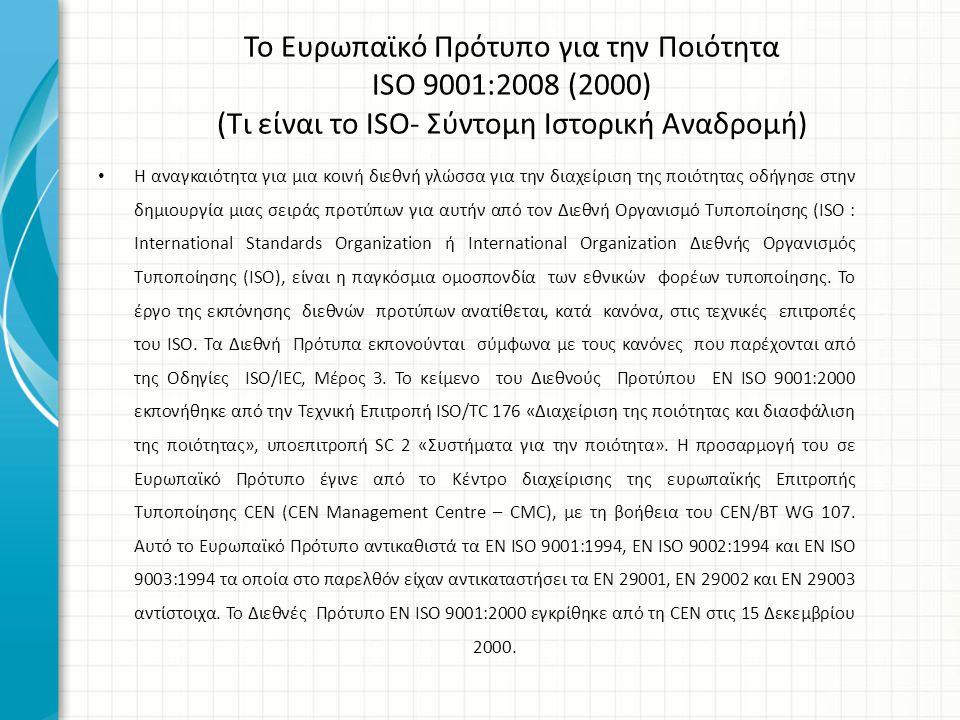 Το Ευρωπαϊκό Πρότυπο για την Ποιότητα ISO 9001:2008 (2000) (Τι είναι το ISO- Σύντομη Ιστορική Αναδρομή)