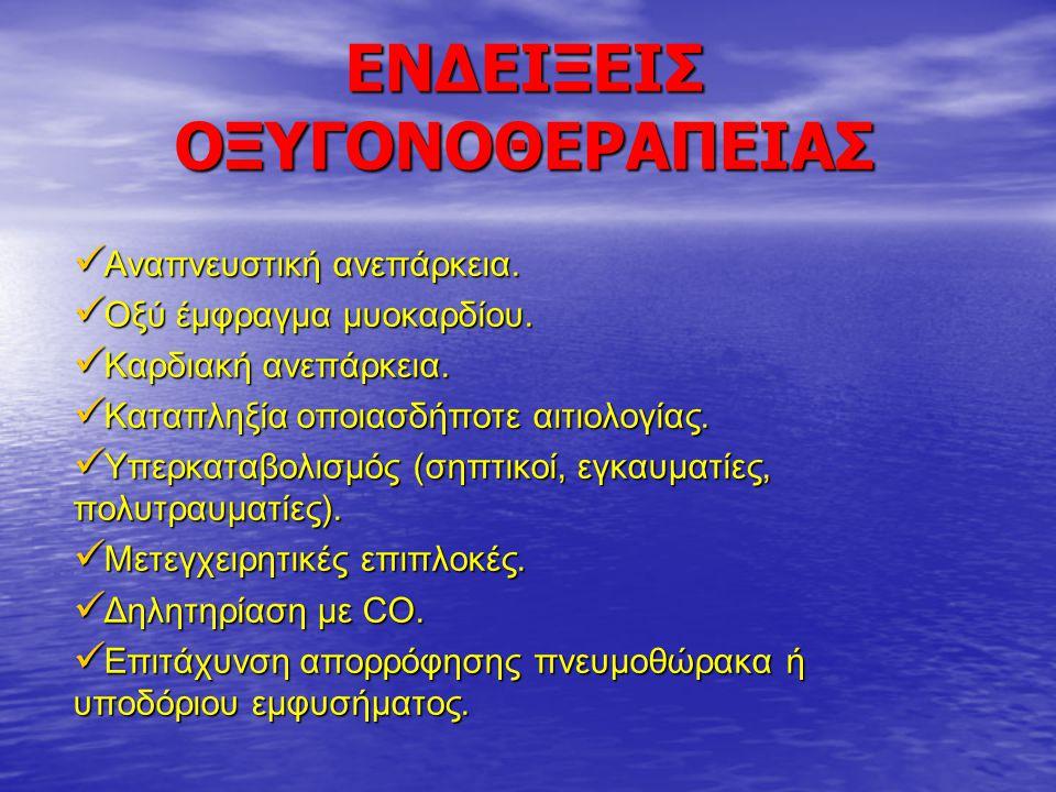 ΕΝΔΕΙΞΕΙΣ ΟΞΥΓΟΝΟΘΕΡΑΠΕΙΑΣ