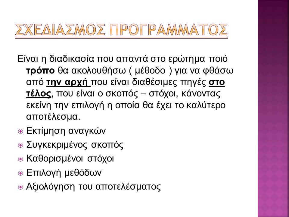 ΣΧΕΔΙΑΣΜΟΣ ΠΡΟΓΡΑΜΜΑΤΟΣ