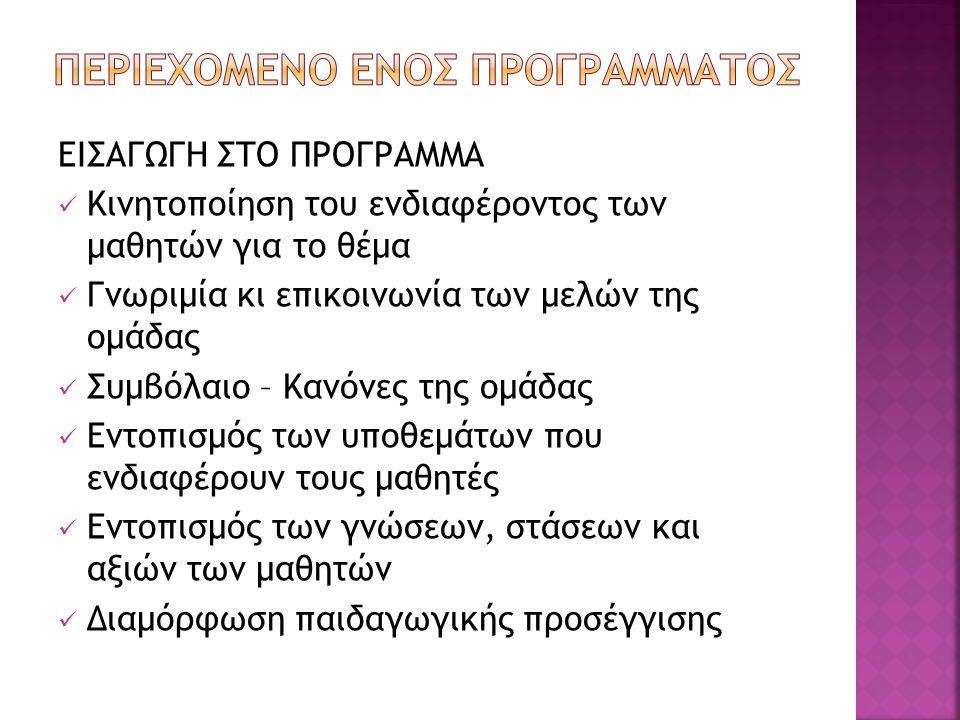 ΠΕΡΙΕΧΟΜΕΝΟ ΕΝΟΣ ΠΡΟΓΡΑΜΜΑΤΟΣ