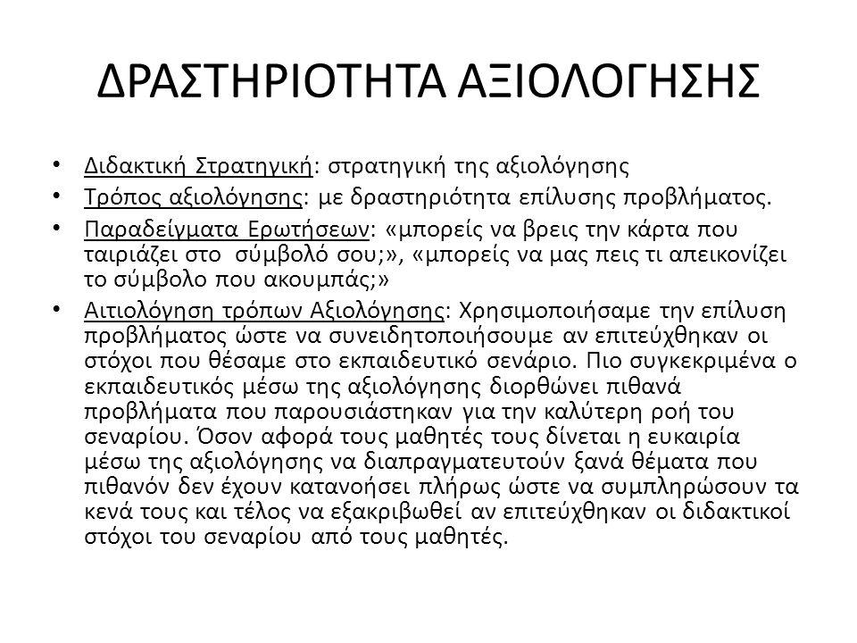 ΔΡΑΣΤΗΡΙΟΤΗΤΑ ΑΞΙΟΛΟΓΗΣΗΣ