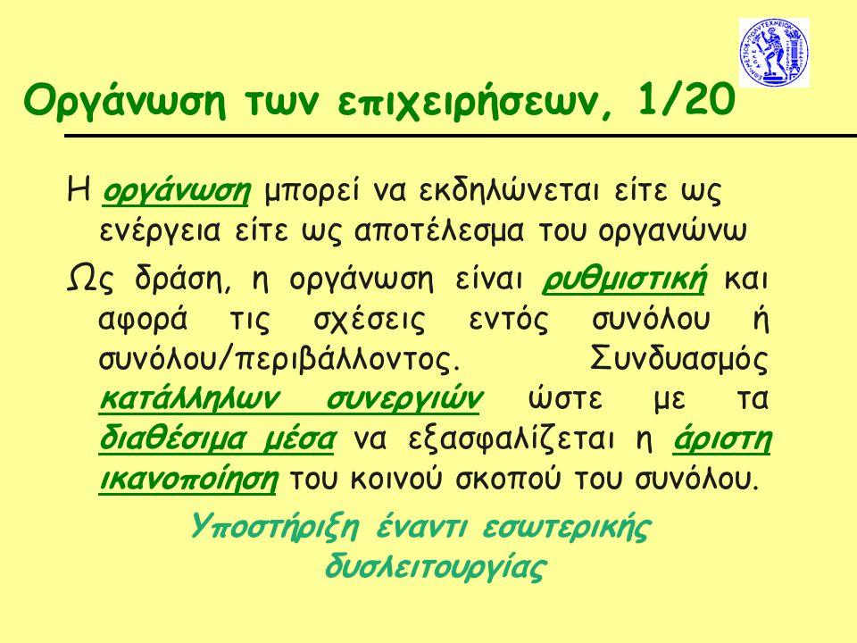 Οργάνωση των επιχειρήσεων, 1/20