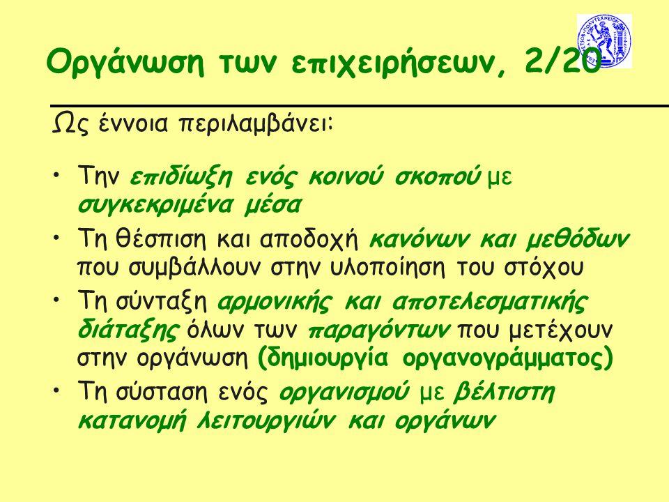 Οργάνωση των επιχειρήσεων, 2/20