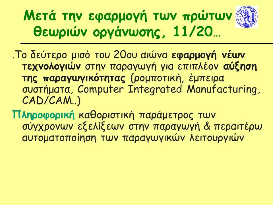 Μετά την εφαρμογή των πρώτων θεωριών οργάνωσης, 11/20…