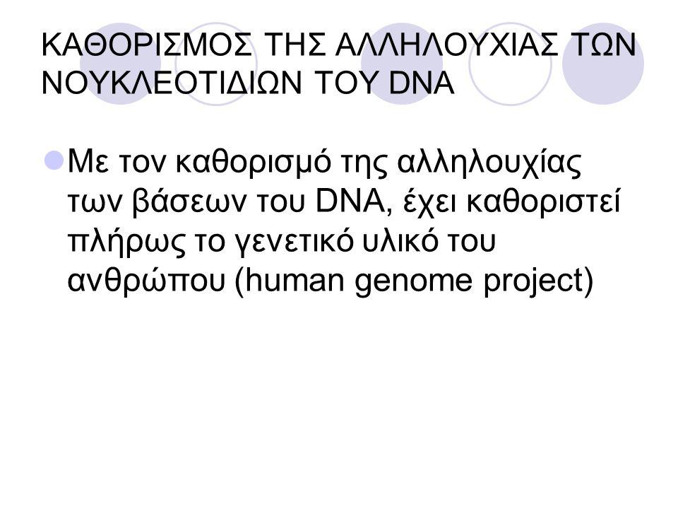 ΚΑΘΟΡΙΣΜΟΣ ΤΗΣ ΑΛΛΗΛΟΥΧΙΑΣ ΤΩΝ ΝΟΥΚΛΕΟΤΙΔΙΩΝ ΤΟΥ DNA